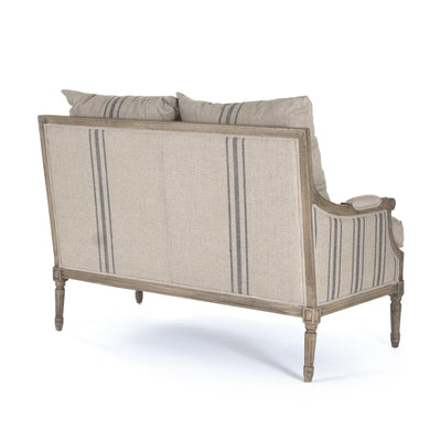farmhouse linen love seat for sale, striped linen livingroom furniture