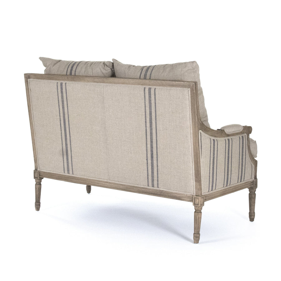 Striped French settee with cushions for sale, french linen and wood settee for sale