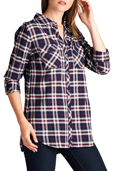 Split Back Plaid Shirt