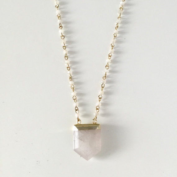 Quartz Crystal Point Necklace with Long Rosary Bead Chain