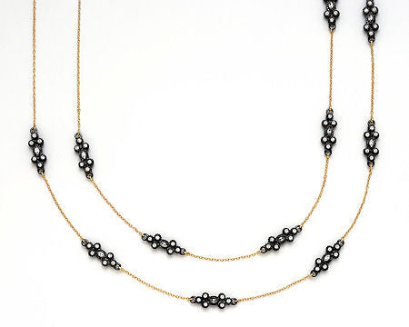 Gold and Hematite Long Necklace
