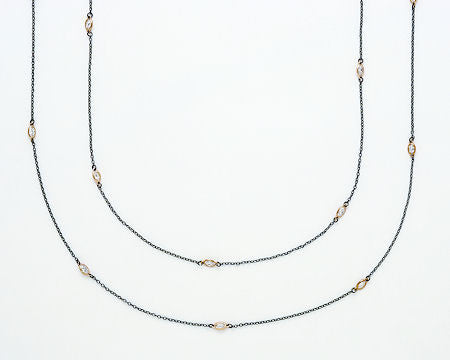 Hematite Gold Crystal Long Necklace