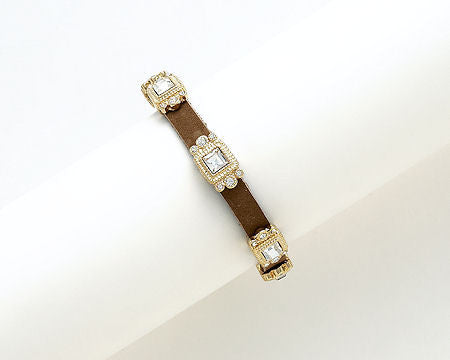 Brown Leather and Gold Square Bracelet