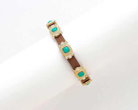 Brown Leather and Turquoise Bracelet