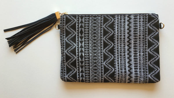 White and Black Woven Clutch
