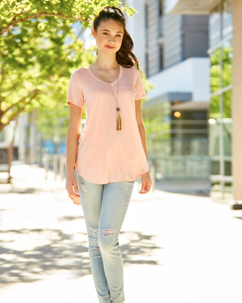 V-Neck Hi-Low Tee with Pocket (available in other colors)