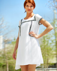 Shift Dress with Blue Trim
