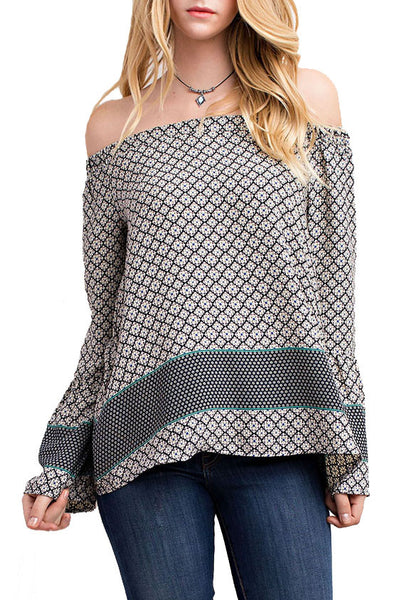 Border Print Off-The-Shoulder Top