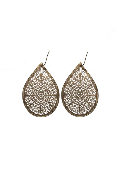 Large Laser Cut Filligree Teardrop Earrings