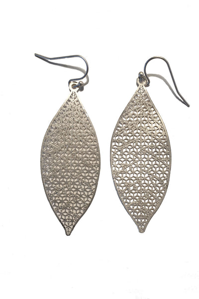 Laser Cut Leaf Earrings (AVAILABLE IN GOLD AND SILVER)