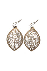 Laser Cut Marquis Earrings (AVAILABLE IN GOLD AND SILVER)