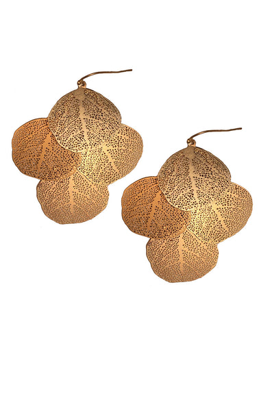 Stippled Leaf Earrings (AVAILABLE IN GOLD AND SILVER)