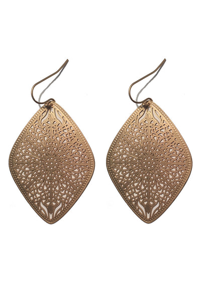 Large Diamond Laser Cut Earrings