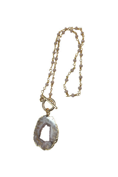 Druzy and Rosary Chain Toggle Necklace