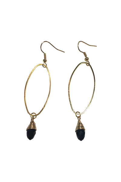 Oval Wirewrapped Crystal Earrings (AVAILABLE IN MORE COLORS)