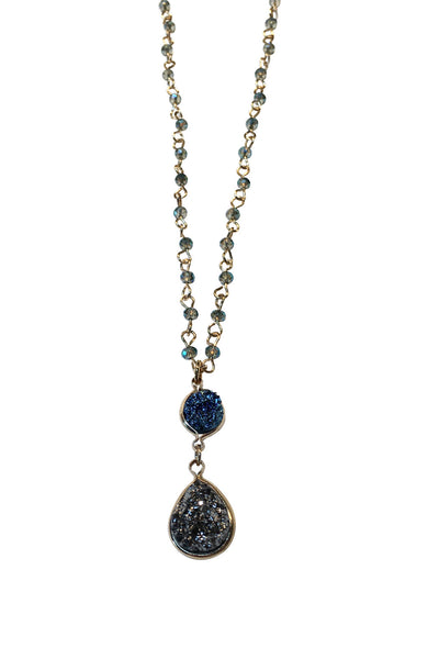 Tear Drop Druzy Pendant and Rosary Chain Necklace