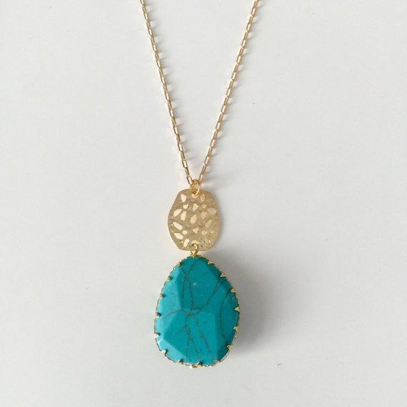 Bohemian Gold and Turquoise Necklace