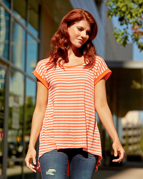Coral Striped Cuffed Sleeve Top