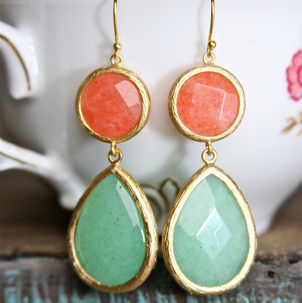 Coral and Jade Double Drop Earrings