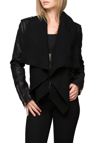 Sweater Front Vegan Leather Jacket (MORE COLORS AVAILABLE)