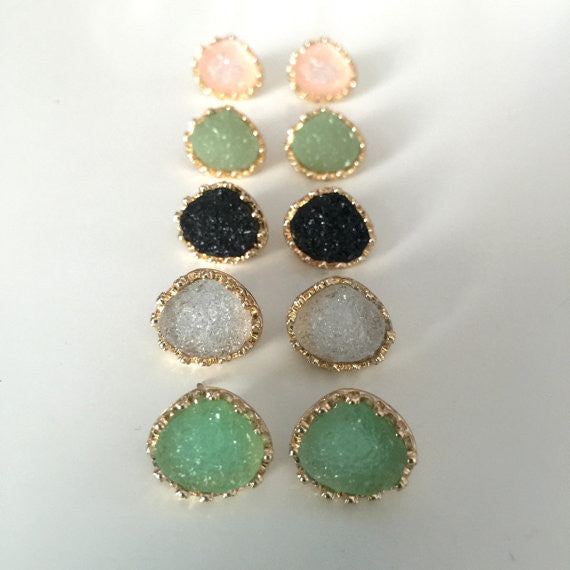 Princess Druzy Stud Earrings