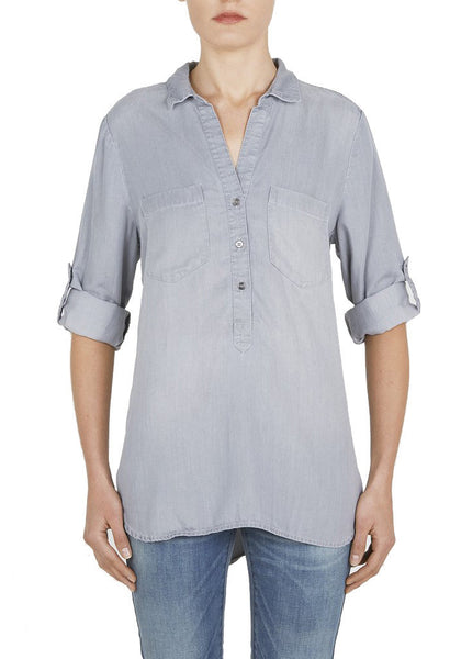 Grey Chambray Top