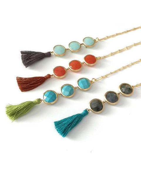 Triple Stone Tassel Necklace