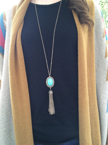 Long Turquoise Tassel Necklace