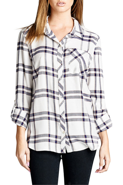 Button Down Tab Sleeve Plaid Shirt