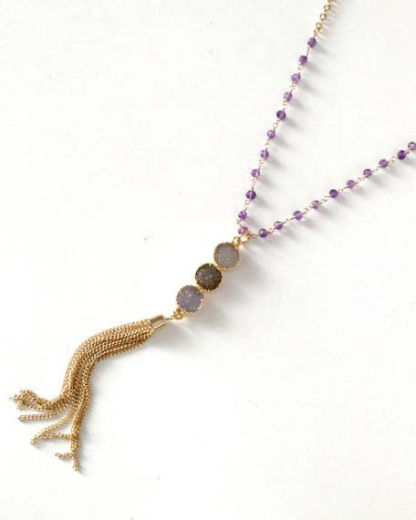 Triple Druzy Drop Tassel Necklace w/ Amethyst Beads