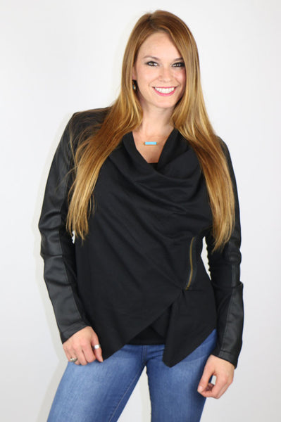 Black Faux Leather with Asymmetrical Zip Jacket