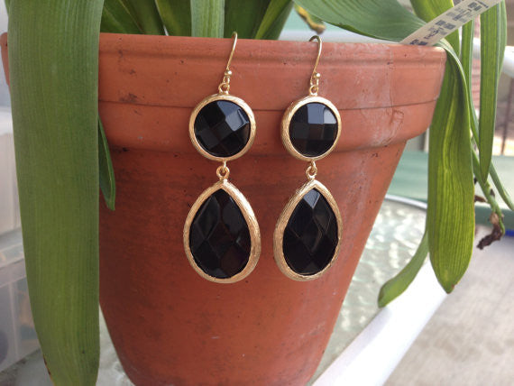 Black Double Drop Earrings