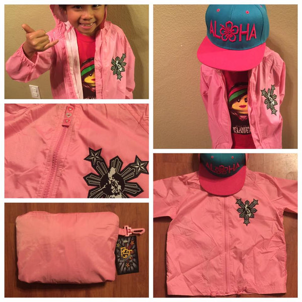 GIRLS PINK 3 STARS AND SUN WINDBREAKER