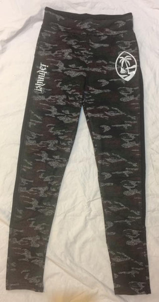 AN ISLANDER PALM CAMO YOGA PANTS