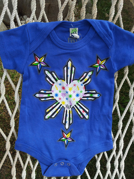 STARS AND SUN BLUE SKITTLES ONESIES