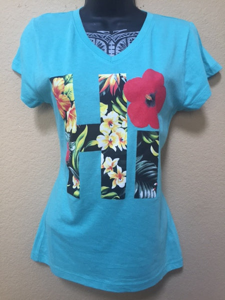 HI FLORAL Teal V Necks