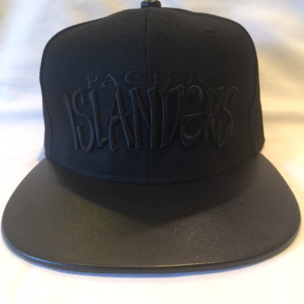 PACIFIC ISLANDERS BLACK on BLACK Leather Brim