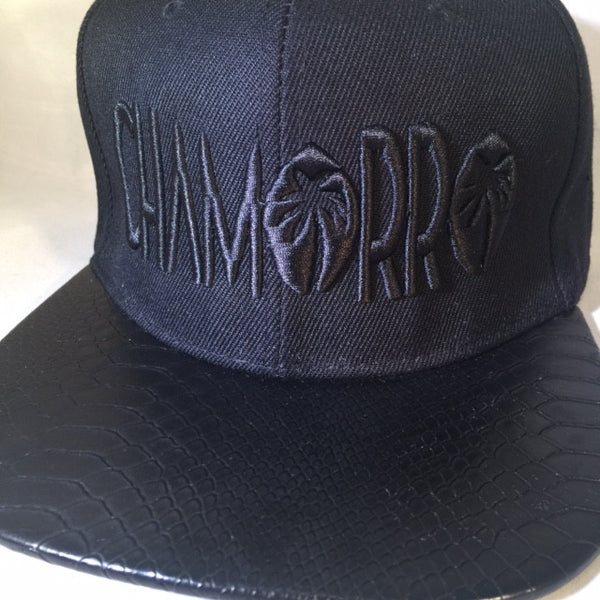 CHAMORRO Palms Black on Black Leather Brim LIMITED SNAPBACKS