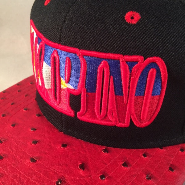 FILIPINO FLAG RED OSTRICH SNAPBACKS