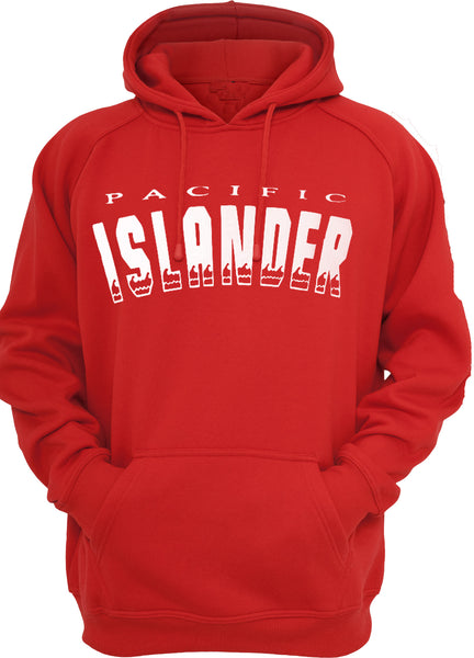 PACIFIC ISLANDER RED WAVY HOODIES