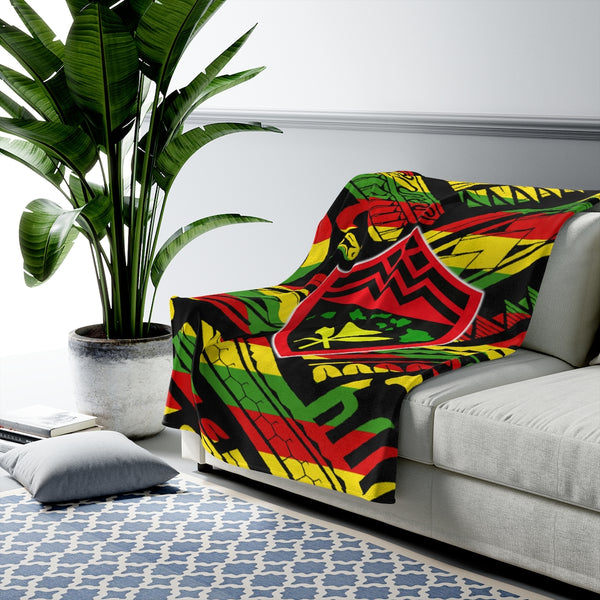 Hawaii Rasta Kanaka Shield Tribal Velveteen Plush Blanket