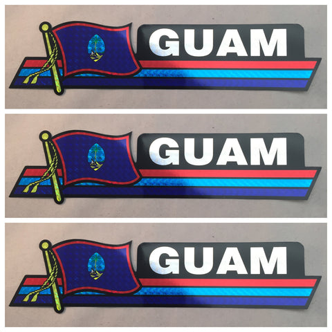 "Guam Reflective Decal 10"" X 3"""