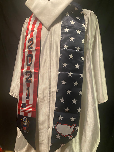 USA Stars and Stripes Graduation Blue Trim Stoles