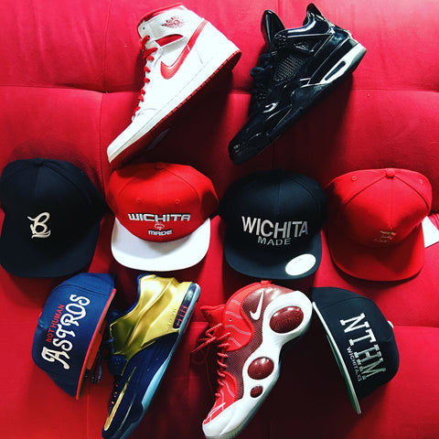 snap backs, strap back hats, shoes and ball shoes