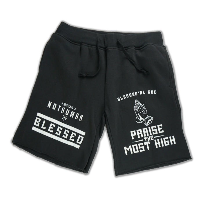 NOT HUMAN CLOTHING, Blessed Shorts - , urban graphic streetwear clothing