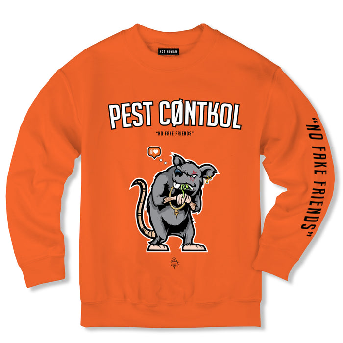 Not Human, Pest Control Crewneck - Orange - Sweater, urban graphic streetwear clothing