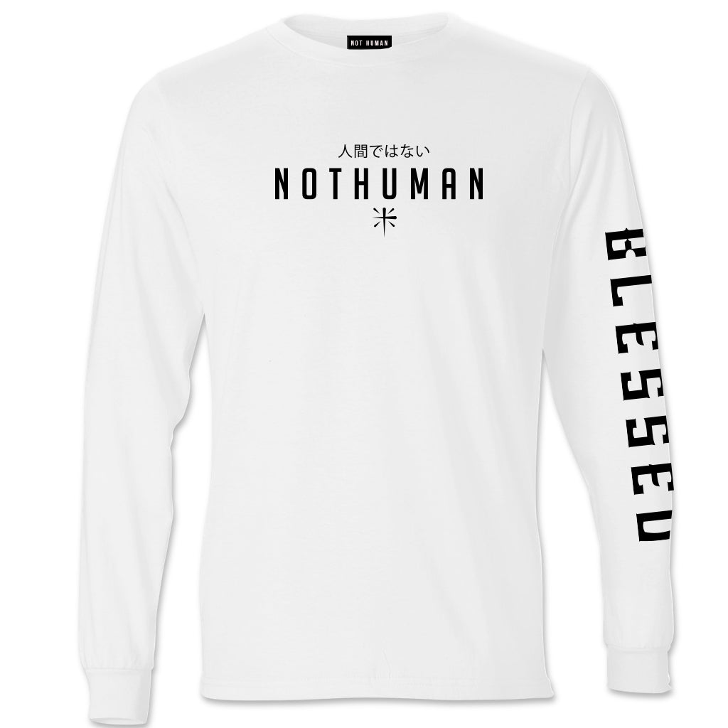 Not Human, Blessed Longsleeve Shirt - LongSleeve, urban graphic streetwear clothing