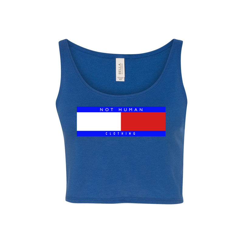 Not Human, TOMMY FLIP LADIES CROP TANK - Crop Tank, urban graphic streetwear clothing