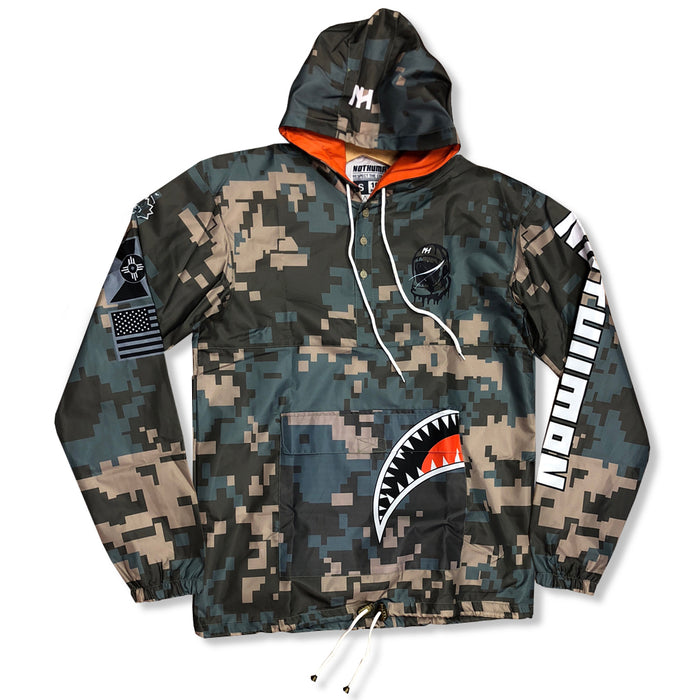 Not Human, Digital Camo Big Mouth Pullover - Jacket, urban graphic streetwear clothing
