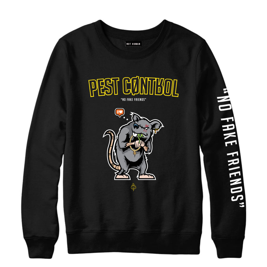 Not Human, Pest Control Crewneck - Black - Sweater, urban graphic streetwear clothing